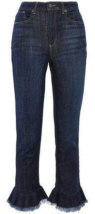Frayed Ruffled High-rise Slim-leg Jeans