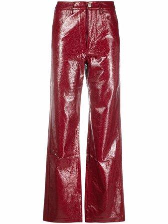 ROTATE high-shine wide leg trousers - FARFETCH