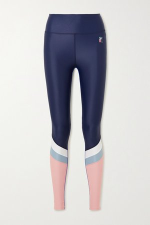 Navy Flex It paneled stretch leggings | P.E NATION | NET-A-PORTER