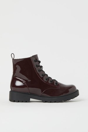 Faux Shearling-lined Boots - Red
