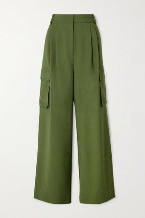 Army green Tropical pleated woven wide-leg pants | Tibi | NET-A-PORTER