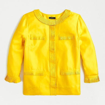 J.Crew: Pleated Button-front Blouse In Silk Twill yellow