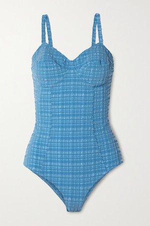 Net Sustain Goldwyn Seersucker Swimsuit - Blue