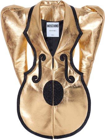 Moschino Puffed Sleeve Metallic Leather Dress Size: 38