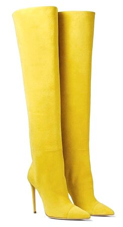 Ralph&Russo Yellow Suede Over the Knee Boots