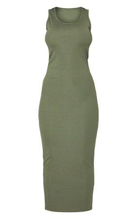 Khaki Basic Rib Maxi Dress | PrettyLittleThing USA