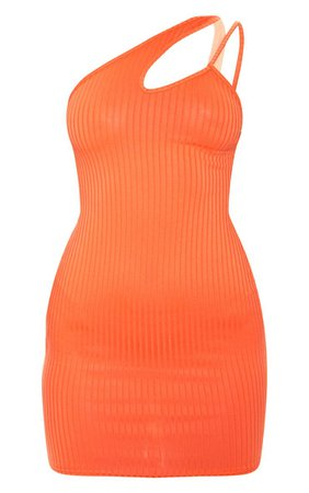 Bright Orange Asymmetric Strap Detail Dress | PrettyLittleThing USA