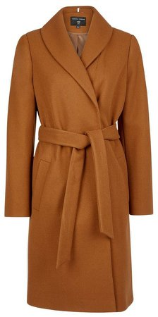 Camel Shawl Collar Wrap Coat