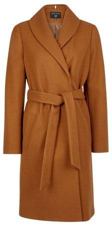 Camel Shawl Collar Wrap Coat