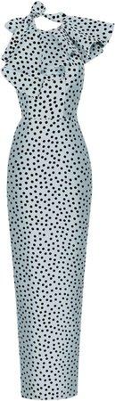 Rasario Ruffled Polka-Dot Silk Organza Gown