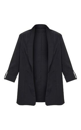 Black Woven Turn Up Sleeve Blazer   PrettyLittleThing
