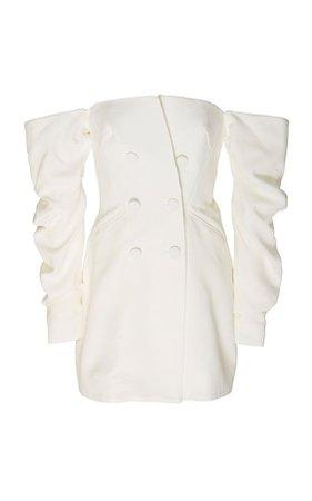 Acler Perkins Drop-Shoulder Crepe Tuxedo Dress