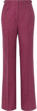Vesta Wool, Silk And Linen-blend Wide-leg Pants - Burgundy