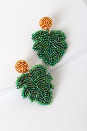 Gold Beaded Earrings - Green Leaf Earrings - Beaded Leaf Earrings