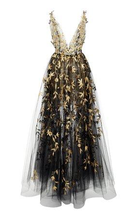Floral Embroidered Tulle Layered Gown by Oscar de la Renta | Moda Operandi