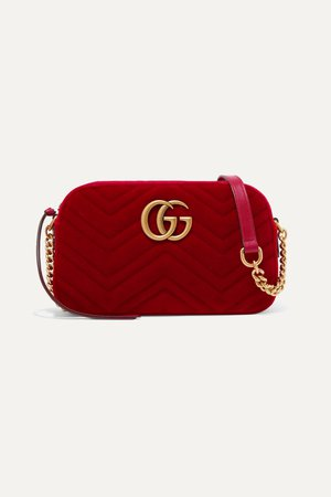 Red GG Marmont small quilted velvet shoulder bag | Gucci | NET-A-PORTER