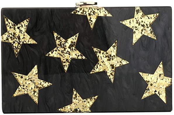 Vistatroy Acrylic Clutch Purses Envelop Star Pattern Designer Handbags Evening Bag for Women Lady (Black): Handbags: Amazon.com