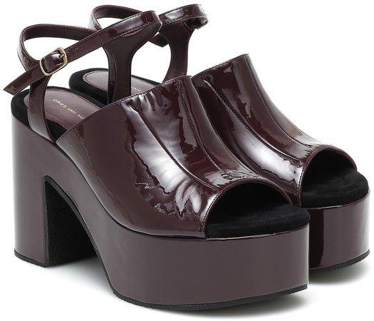 Patent-leather platform sandals