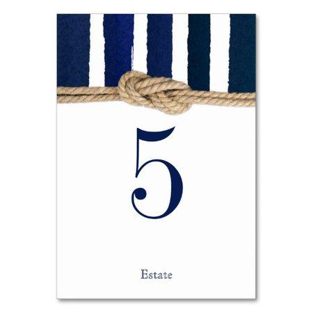 Nautical Knot Navy Stripes Wedding Table Card | Zazzle.com