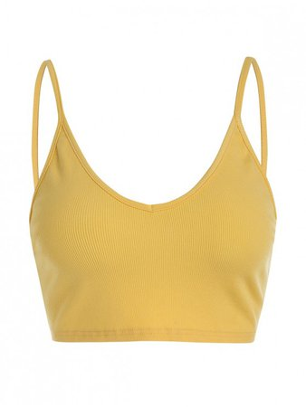 [60% OFF] [POPULAR] 2020 ZAFUL Ribbed Cropped Backless Cami Top In YELLOW | ZAFUL