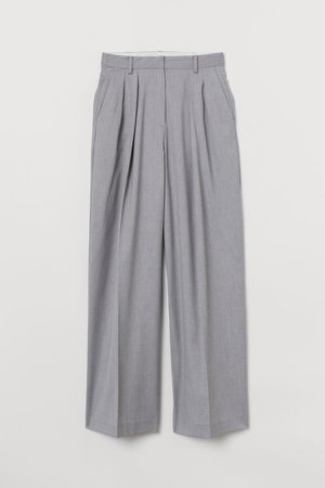 Wide-leg Twill Pants - Gray