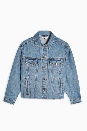 PETITE Mid Stone Oversized Denim Jacket | Topshop