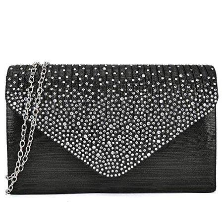 Dasein Ladies Frosted Satin Evening Clutch Purse Bag Crossbody Handbags Party Prom Wedding Envelope (Black): Handbags: Amazon.com