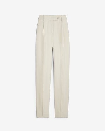 High Waisted Side Tab Lined Ankle Pant