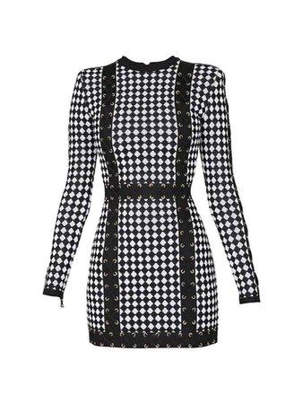 Balmain Checkered Stretch Knit Mini Dress