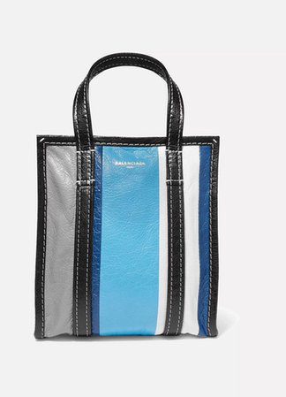 Bazar Xs Striped Textured-leather Tote - Blue