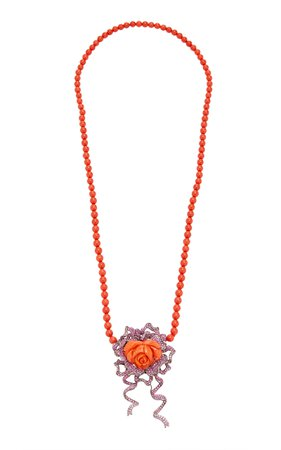 18K Gold, Coral And Sapphire Necklace by Wendy Yue | Moda Operandi