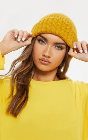 Mustard Ribbed Knitted Beanie | Accessories | PrettyLittleThing USA