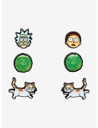 Rick And Morty Stud Earring Set