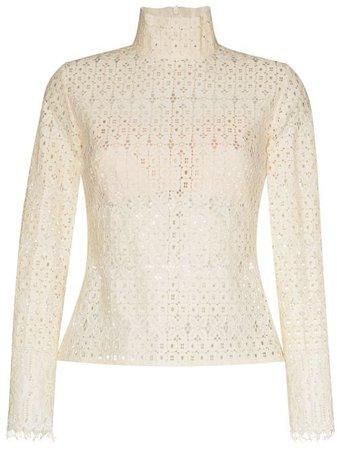 ANOUKI open-knit High Neck Blouse - Farfetch