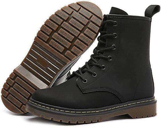 Amazon.com | Shupua Women's Combat Boots Fashion Casual Ankle Boots Black Leather Boots(Black.US9) | Ankle & Bootie