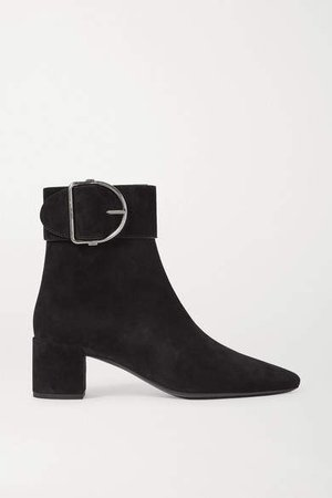 Charlie Buckled Suede Ankle Boots - Black
