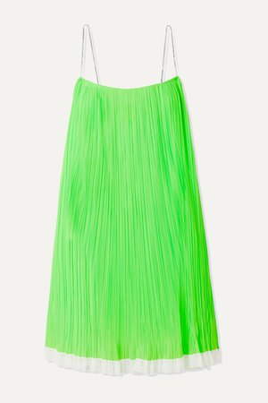 Green Crystal-embellished lace-trimmed pleated mesh mini dress | THE Marc Jacobs | NET-A-PORTER