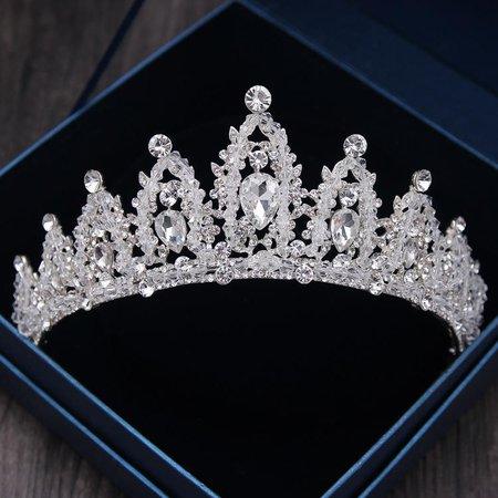Baroque Luxury Handmade Rhinestone Bridal Crown Tiaras Silver Crystal