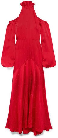Betty Cold-shoulder Satin-jacquard Maxi Dress - Red