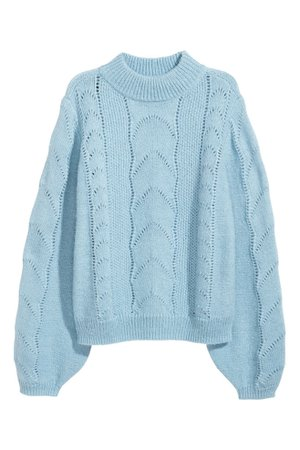 Pattern-knit jumper - Light blue - Ladies | H&M IE
