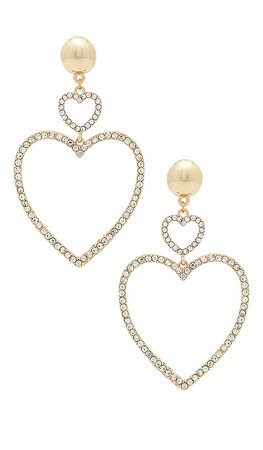 Ettika Two Hearts Drop Earrings in Gold | REVOLVE