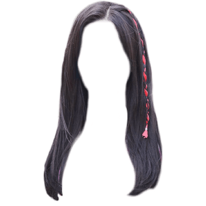 dark brown black hair png red sting/ribbon/clip