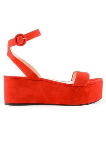 Prada Buckled Strap Wedge Sandals