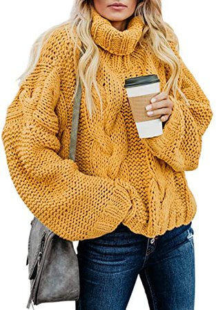 FARYSAYS Women's Winter Warm Turtleneck Sweaters Long Balloon Sleeve Oversized Chunky Knitted Pullover Tops Pink Medium at Amazon Women's Clothing store