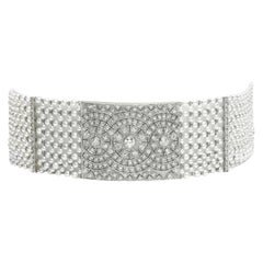 Diamond and Pearl Choker Necklace For Sale at 1stdibs