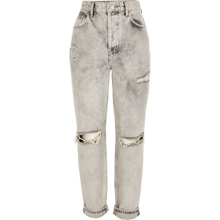 Light grey rip Carrie high rise Mom jeans | River Island