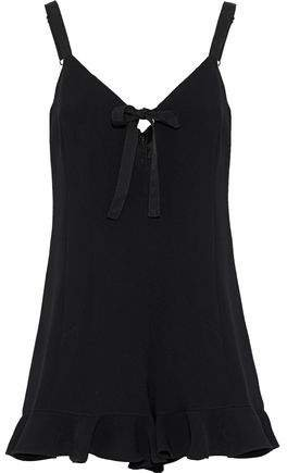 Audrey Ruffle-trimmed Bow-detailed Crepe Playsuit
