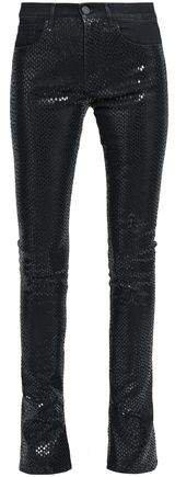 Snake-print High-rise Skinny Jeans
