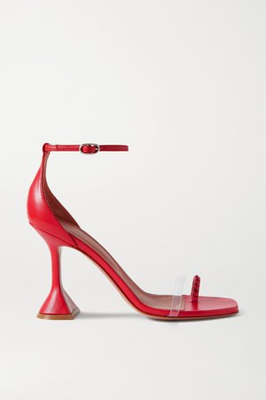 Oya Crystal-embellished Leather And Pvc Sandals - Red