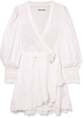 Harriet Ruffled Organic Broderie Anglaise Cotton Wrap Dress - White